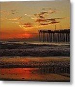 Avon Pier Hatteras Sunrise 1 1/15 Metal Print