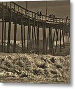 Avon Pier Stormy Sepia 3 10/13 Metal Print
