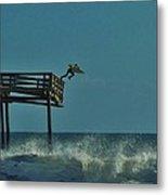 Avon Pier Surfers Leap 1 1/19 Metal Print