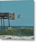 Avon Pier Surfers Leap 2 1/19 Metal Print