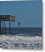 Avon Pier Surfers Leap 3 1/19 Metal Print