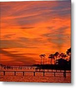 Awesome Fiery Sunset On Sound With Cirrus Clouds And Pines Metal Print