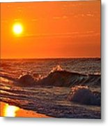 Awesome Red Sunrise Colors On Navarre Beach With Shore Waves Metal Print
