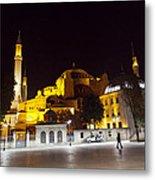 Aya Sophia In Istanbul Turkey At Night Metal Print by Raimond Klavins