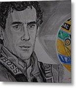 Ayrton Senna Portrait Metal Print