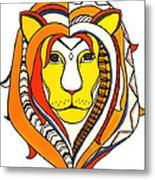 Golden Aztec Lion Metal Print
