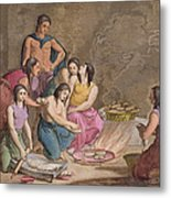 Aztec Women Making Maize Bread, Mexico Metal Print