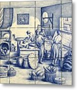 Azulejo Portuguese Bakers Tile Mural Metal Print by Julia Sweda