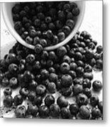 B And W Blueberries Metal Print