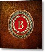 B - Gold Vintage Monogram On Brown Leather Metal Print