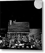B/w Log Cabin And Outhouse Scene With The Classic Old Vintage 1908 Model T Ford Metal Print by Leslie Crotty