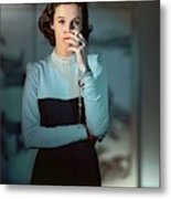 Babe Paley Wearing A Traina-norell Dress Metal Print