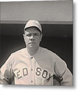 Babe Ruth With The Sox Metal Print