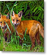 Babes In The Woods Impasto Metal Print