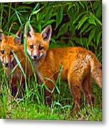 Babes In The Woods Oil Metal Print