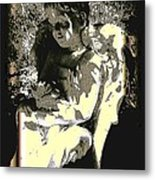 Baby Angel With Teddy Metal Print