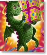 Baby Birthday Dragon With Present Metal Print