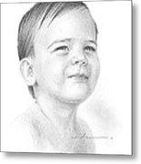Baby Boy Pencil Portrait Metal Print