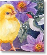 Baby Chick And Hummingbird Metal Print