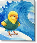 Baby Chick Surfing Metal Print