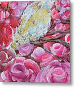 Baby Dove Of Peace Pink Flowers Metal Print