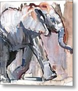 Baby Elephant, 2012 Mixed Media On Paper Metal Print