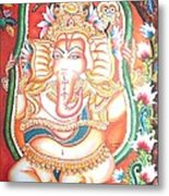 Baby Ganesha Swinging On A Snake Metal Print