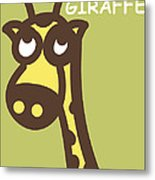 Baby Giraffe Nursery Wall Art Metal Print by Nursery Art