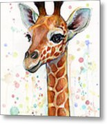 Baby Giraffe Watercolor  Metal Print