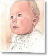 Baby Girl Watercolor Portrait Metal Print