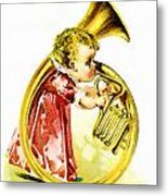 Baby Girl With A French Horn Metal Print