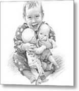 Baby Girl With Dolls Pencil Portrait Metal Print
