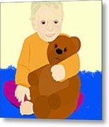 Baby Holding Teddy Bear Metal Print