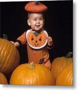 Baby In Pumpkin Costume Metal Print