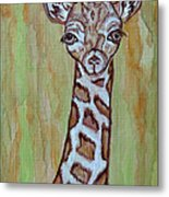 Baby Longneck Giraffe Metal Print