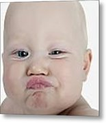 Baby Making A Funny Face Metal Print
