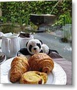 Baby Panda And Croissant Rolls Metal Print