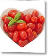 Baby Plum Tomates In A Heart Shaped Bowl Metal Print