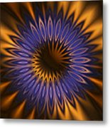 Bachelor Button Mandala Metal Print