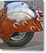 Back Of Indian Customized Motorcycle Metal Print