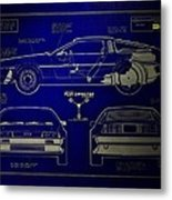Back To The Future Delorean Blueprint 2 Metal Print