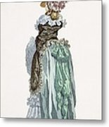Back View Of A Promenade Gown, Engraved Metal Print