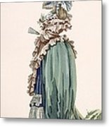 Back View Of Ladys Dress, Engraved Metal Print
