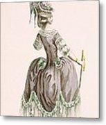 Back View Of Ladys Grey Promenade Metal Print