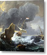 Backhuysen's Ships In Distress Off A Rocky Coast Metal Print