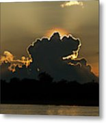 Backlit Clouds During Sunset Over Lago Metal Print