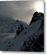 Backlit Skilift In Beautiful Landscape Metal Print