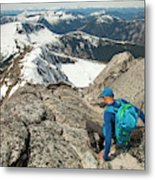 Backpacker Descending Needle Peak Metal Print