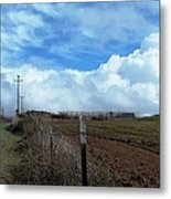 Backroads- Telephone Poles- And Barbed Wire Fences Metal Print