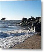 Backwash On Sunset Beach Cape May Metal Print